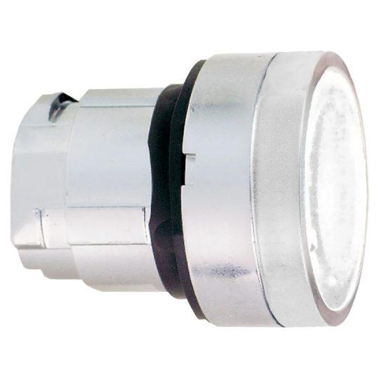 Schneider ZB4BW313S Harmony fém világító nyomógomb fej, Ø22, visszatérő, beépített LED-hez, hornyolt lencsével, fehér