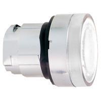 Schneider ZB4BW31S Harmony fém világító nyomógomb fej, Ø22, visszatérő, BA9s izzóhoz, hornyolt lencsével, fehér