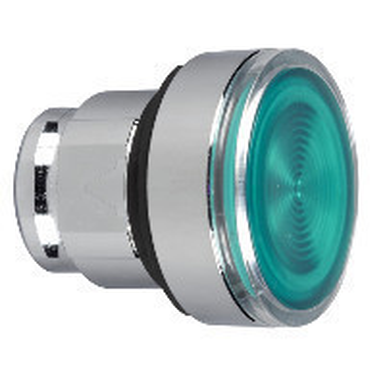 Schneider ZB4BW333S Harmony fém világító nyomógomb fej, Ø22, visszatérő, beépített LED-hez, hornyolt lencsével, zöld