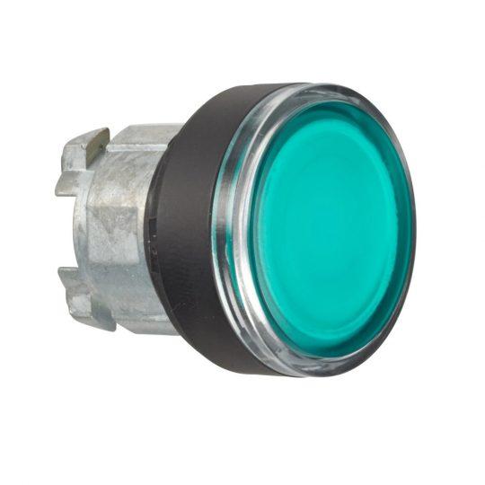 Schneider ZB4BW337 Harmony fém világító nyomógomb fej, Ø22, visszatérő, BA9s izzóhoz, zöld, fekete perem