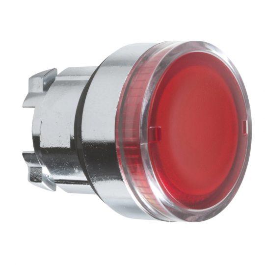 Schneider ZB4BW34 Harmony fém világító nyomógomb fej, Ø22, visszatérő, BA9s izzóhoz, piros