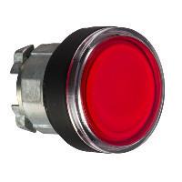 Schneider ZB4BW3437 Harmony fém világító nyomógomb fej, Ø22, visszatérő, beépített LED-hez, piros, fekete perem