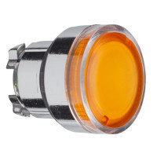 Schneider ZB4BW35 Harmony fém világító nyomógomb fej, Ø22, visszatérő, BA9s izzóhoz, narancssárga