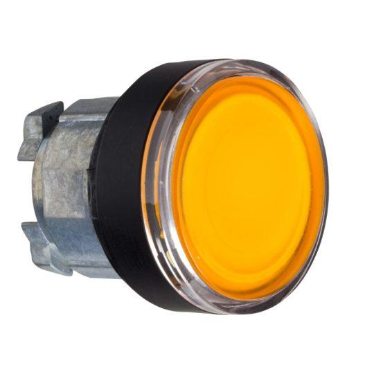 Schneider ZB4BW3537 Harmony fém világító nyomógomb fej, Ø22, visszatérő, beépített LED-hez, narancssárga, fekete perem