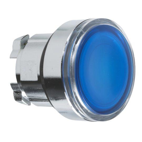 Schneider ZB4BW363 Harmony fém világító nyomógomb fej, Ø22, visszatérő, beépített LED-hez, kék