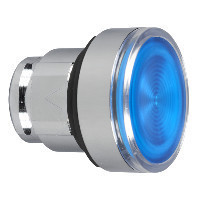 Schneider ZB4BW363S Harmony fém világító nyomógomb fej, Ø22, visszatérő, beépített LED-hez, hornyolt lencsével, kék