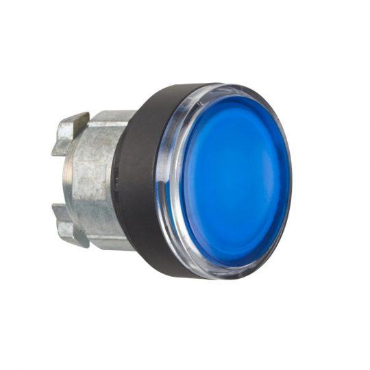 Schneider ZB4BW367 Harmony fém világító nyomógomb fej, Ø22, visszatérő, BA9s izzóhoz, kék, fekete perem