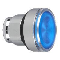 Schneider ZB4BW36S Harmony fém világító nyomógomb fej, Ø22, visszatérő, BA9s izzóhoz, hornyolt lencsével, kék