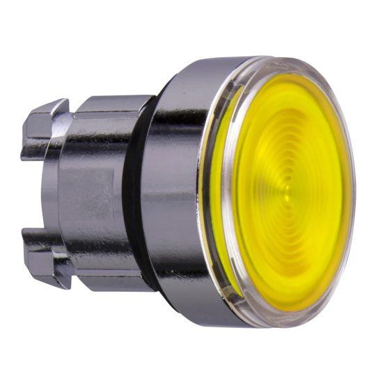 Schneider ZB4BW383S Harmony fém világító nyomógomb fej, Ø22, visszatérő, beépített LED-hez, hornyolt lencsével, sárga