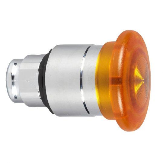 Schneider ZB4BW453 Harmony fém világító nyomógomb fej, Ø22, visszatérő, Ø40 gombafejű, beépített LED-hez, narancssárga