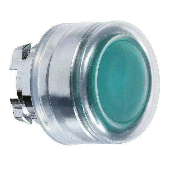 Schneider ZB4BW533 Harmony fém világító nyomógomb fej, Ø22, visszatérő, védősapkás, beépített LED-hez, zöld