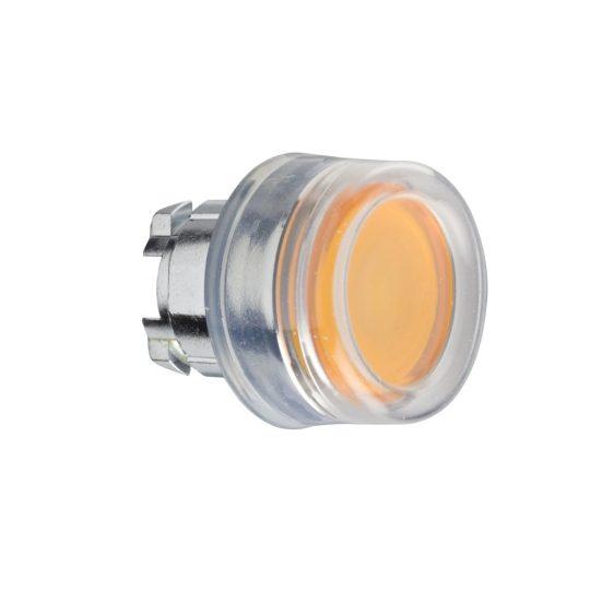 Schneider ZB4BW553 Harmony fém világító nyomógomb fej, Ø22, visszatérő, védősapkás, beépített LED-hez, narancssárga