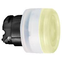 Schneider ZB4BW5537 Harmony fém világító nyomógomb fej, Ø22, visszatérő, védősapkás, beépített LED-hez, narancssárga, fekete perem