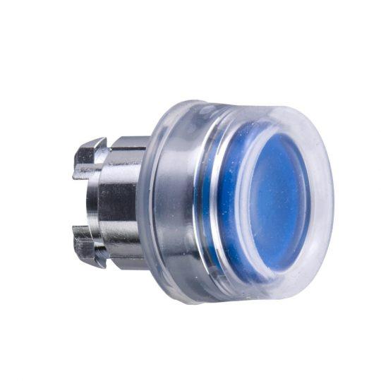 Schneider ZB4BW563 Harmony fém világító nyomógomb fej, Ø22, visszatérő, védősapkás, beépített LED-hez, kék