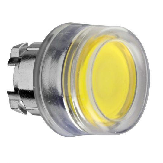 Schneider ZB4BW583 Harmony fém világító nyomógomb fej, Ø22, visszatérő, védősapkás, beépített LED-hez, sárga