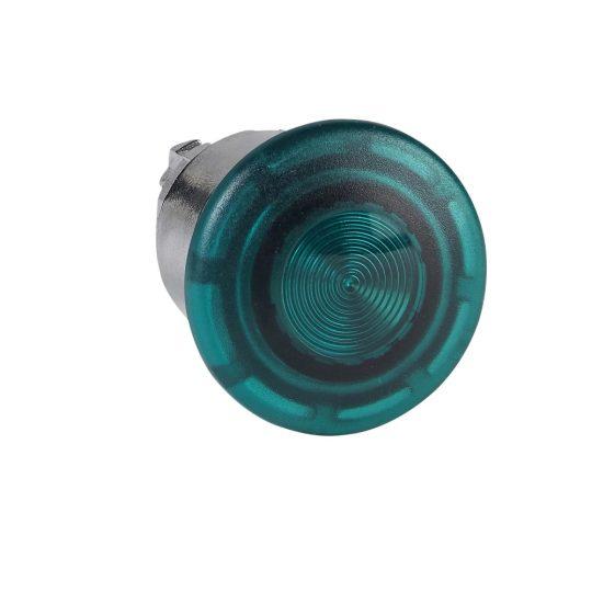 Schneider ZB4BW633 Harmony fém világító nyomógomb fej, Ø22, húzásra kioldó, Ø40 gombafejű, beépített LED-hez, zöld