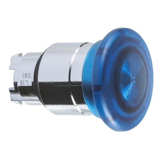Schneider ZB4BW663 Harmony fém világító nyomógomb fej, Ø22, húzásra kioldó, Ø40 gombafejű, beépített LED-hez, kék