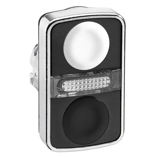 Schneider ZB4BW7A1720 Harmony fém világító kettősfejű nyomógomb fej, Ø22, visszatérő, 1 fehér 1 fekete nyomógomb