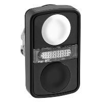 Schneider ZB4BW7A17207 Harmony fém világító kettősfejű nyomógomb fej, Ø22, visszatérő, 1 fehér 1 fekete nyomógomb, fekete perem