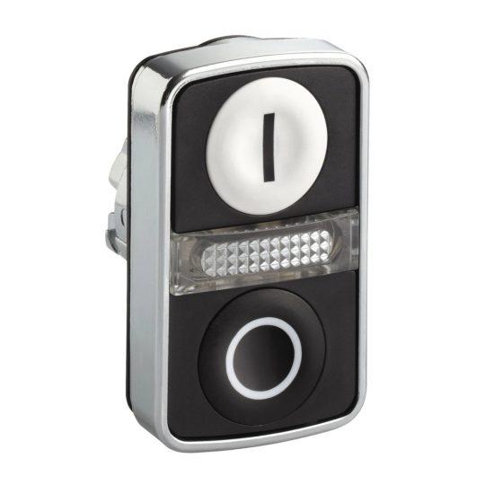 """Schneider ZB4BW7A1721 Harmony fém világító kettősfejű nyomógomb fej, Ø22, visszatérő, 1 fehér """"I"""", 1 fekete """"O"""" nyomógomb"""
