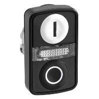 """Schneider ZB4BW7A17217 Harmony fém világító kettősfejű nyomógomb fej, Ø22, visszatérő, 1 fehér """"I"""", 1 fekete """"O"""" nyomógomb, fekete perem"""