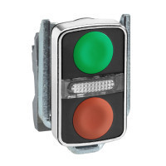 Schneider ZB4BW7A3740 Harmony fém világító kettősfejű nyomógomb fej, Ø22, visszatérő, 1 zöld 1 piros nyomógomb