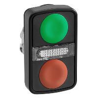Schneider ZB4BW7A37407 Harmony fém világító kettősfejű nyomógomb fej, Ø22, visszatérő, 1 zöld 1 piros nyomógomb, fekete perem