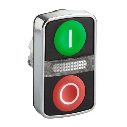 """Schneider ZB4BW7A3741 Harmony fém világító kettősfejű nyomógomb fej, Ø22, visszatérő, 1 zöld """"I"""", 1 piros """"O"""" nyomógomb"""