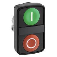 """Schneider ZB4BW7A37417 Harmony fém világító kettősfejű nyomógomb fej, Ø22, visszatérő, 1 zöld """"I"""", 1 piros """"O"""" nyomógomb, fekete perem"""