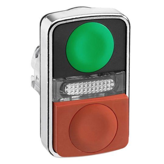 Schneider ZB4BW7L3740 Harmony fém világító kettősfejű nyomógomb fej, Ø22, visszatérő, 1 zöld 1 kiálló piros nyomógomb