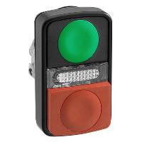 Schneider ZB4BW7L37407 Harmony fém világító kettősfejű nyomógomb fej, Ø22, visszatérő, 1 zöld 1 kiálló piros nyomógomb, fekete perem