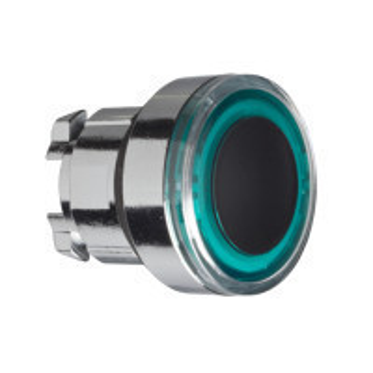 Schneider ZB4BW933 Harmony fém világító nyomógomb fej, Ø22, visszatérő, zölden világító perem