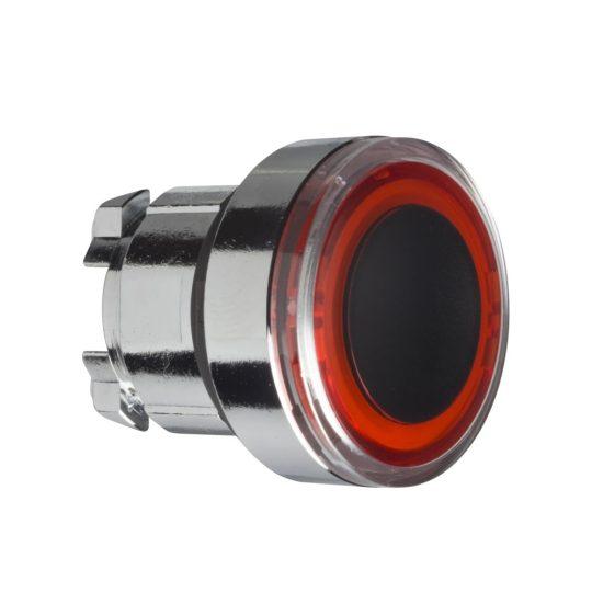 Schneider ZB4BW943 Harmony fém világító nyomógomb fej, Ø22, visszatérő, pirosan világító perem