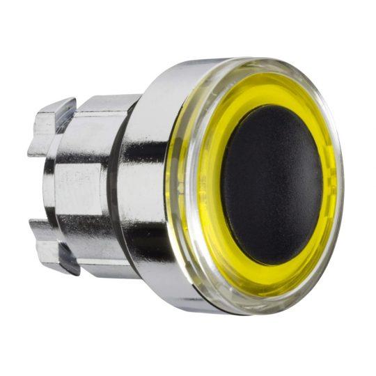 Schneider ZB4BW983 Harmony fém világító nyomógomb fej, Ø22, visszatérő, sárgán világító perem