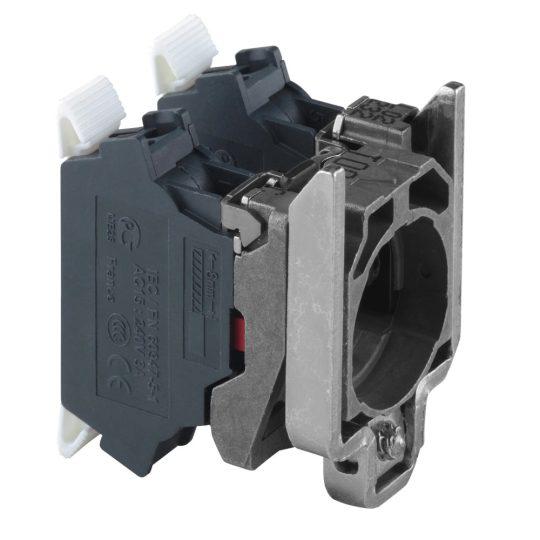 Schneider ZB4BZ1045 Harmony fém rögzítőaljzat és érintkezőblokk, 2NC, rugós csatlakozós