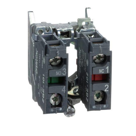 Schneider ZB4BZ105 Harmony fém rögzítőaljzat és érintkezőblokk, 1NO+1NC
