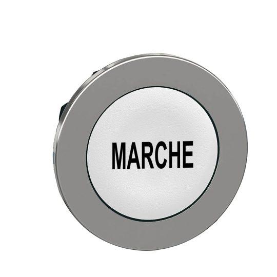 """Schneider ZB4FA142 Harmony panelbe süllyesztett fém nyomógomb fej, Ø30, fehér, """"MARCHE"""""""