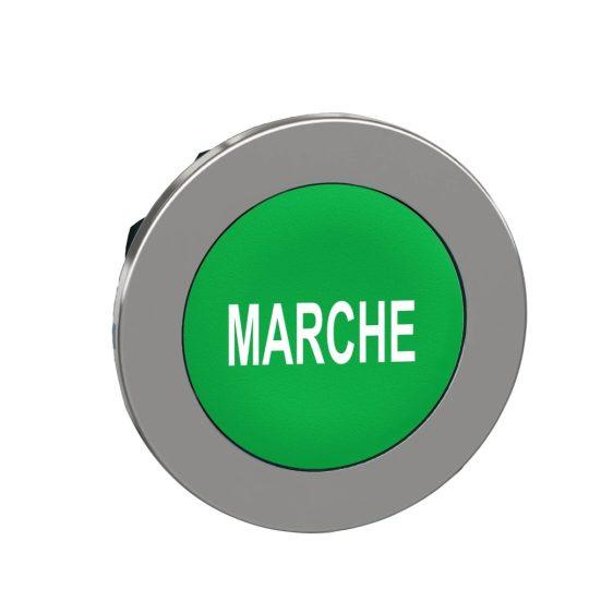 """Schneider ZB4FA342 Harmony panelbe süllyesztett fém nyomógomb fej, Ø30, zöld, """"MARCHE"""""""