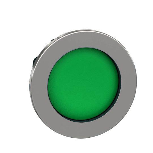 Schneider ZB4FA36 Harmony panelbe süllyesztett fém nyomógomb fej, Ø30, visszatérő, mélyítet, zöld