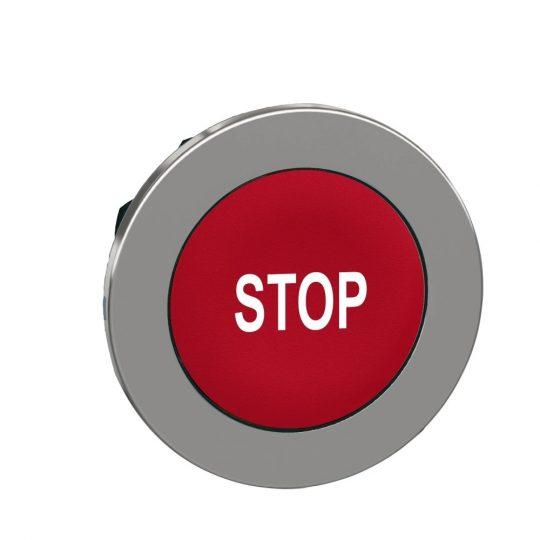 "Schneider ZB4FA434 Harmony panelbe süllyesztett fém nyomógomb fej, Ø30, piros, ""STOP"""