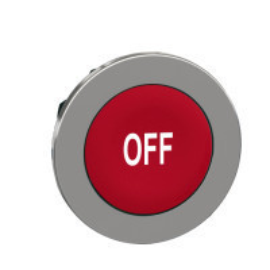"Schneider ZB4FA435 Harmony panelbe süllyesztett fém nyomógomb fej, Ø30, piros, ""OFF"""