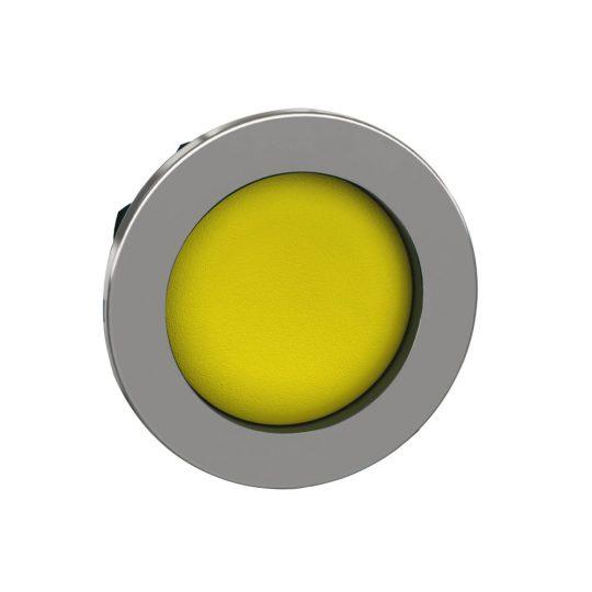 Schneider ZB4FA56 Harmony panelbe süllyesztett fém nyomógomb fej, Ø30, visszatérő, mélyítet, sárga
