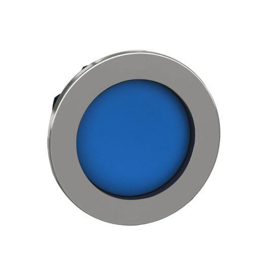 Schneider ZB4FA66 Harmony panelbe süllyesztett fém nyomógomb fej, Ø30, visszatérő, mélyítet, kék