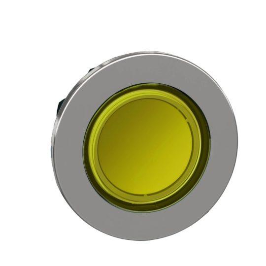 Schneider ZB4FA88 Harmony panelbe süllyesztett fém világító nyomógomb fej, Ø30, visszatérő, sárga, betehető címke