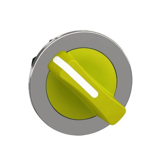 Schneider ZB4FD205 Harmony panelbe süllyesztett fém választókapcsoló fej, Ø30, 2 állású, sárga