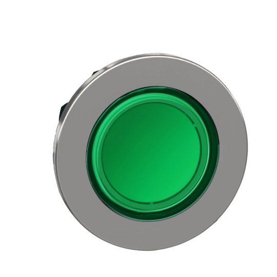 Schneider ZB4FH033 Harmony panelbe süllyesztett fém világító nyomógomb fej, Ø30, zöld, nyomó-nyomó