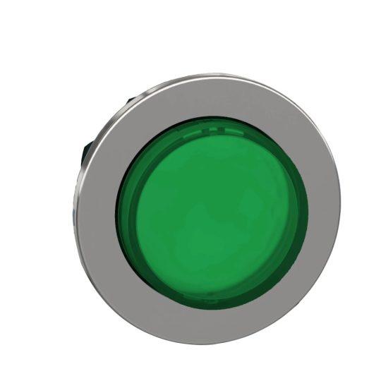 Schneider ZB4FH33 Harmony panelbe süllyesztett fém világító nyomógomb fej, Ø30, kiemelkedő, zöld, nyomó-nyomó