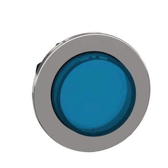 Schneider ZB4FH63 Harmony panelbe süllyesztett fém világító nyomógomb fej, Ø30, kiemelkedő, kék, nyomó-nyomó