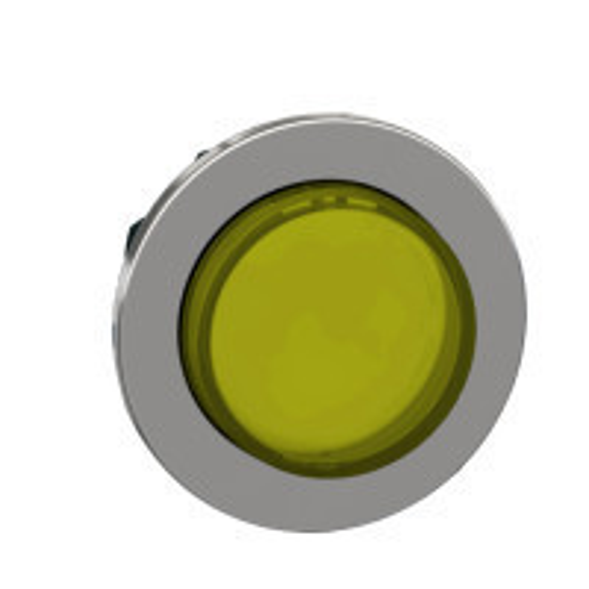 Schneider ZB4FH83 Harmony panelbe süllyesztett fém világító nyomógomb fej, Ø30, kiemelkedő, sárga, nyomó-nyomó