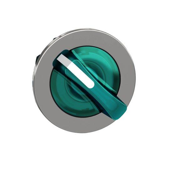 Schneider ZB4FK1433 Harmony panelbe süllyesztett fém világító választókapcsoló fej, Ø30, 2 állású, zöld, jobbról visszatérő